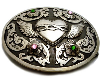 Silver Winged Sacred Heart & Floral Scroll Belt Buckle with Swarovski Crystals, Silver Buckle, Sacred Heart Buckle, Mexican Silver, Milagro