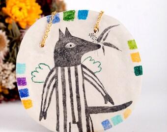 Dog Pendant, Air Dry Clay, Animal Necklace, Tribal, Statement Jewelry, Geometry, Wolf, Keramik Halskette, Art, Handmade, Ceramic Necklace