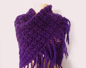 purple shawl // Crochet  shawl // bridal shawl // dark purple shawl // warm shawl //winter shawl