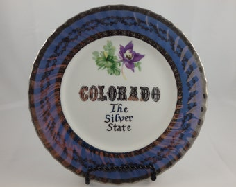 Vintage Colorado Souvenir Plate CO Norcrest Lustreware State Collectible