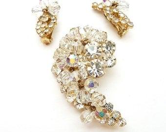 Verified Juliana D&E Pin Earrings Clear Rhinestones and Crystal Beads