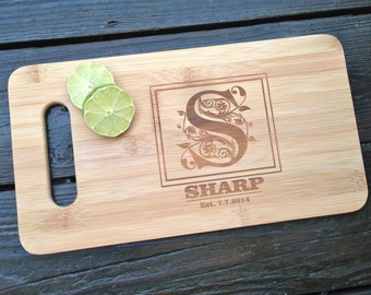 Monogram Cutting Board - Personalized Engraved Monogram BAMBOO Cutting Board 14 X 7.5 Custom Wedding Gift House Warming Gift Wooden Board