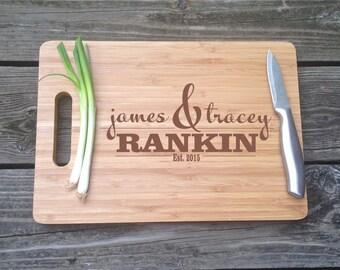 Personalized Engraved Chopping Block Cutting Board-  BAMBOO Cutting Board 13 X 9.75 X .5 Wedding Gift House Warming Gift Monogram