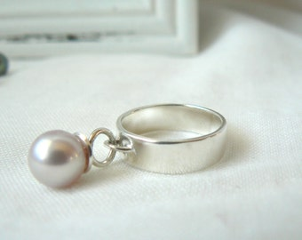 Pink Cultured Pearl Sterling silver Ring - Made to order