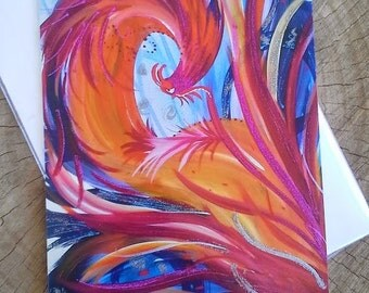 Phoenix Rising Greeting Card Hand Embellished and Artist Signed