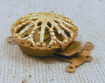 Vintage Raw Brass FIligree 3-strand Tongue Clasp (2) Bracelet, Trendy