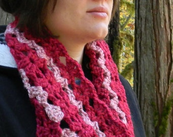 Crocheted Cowl in Shades of Pink Chunky Yarn