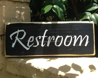 10x4 RESTROOM  (Choose Color) Hime Office Span Salon Welcome Rustic Shabby Chic Door Sign