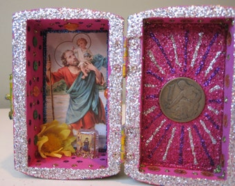 St. Christopher mini nicho, spirit house, altar, Catholic, Santeria shrine