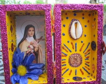St. Theresa mini nicho, altar, Catholic shrine, shadow box, spirit house
