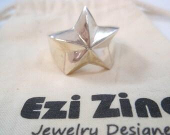 Genuine Ezi Zino silver star ring  solid sterling silver 925