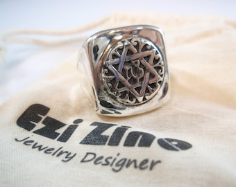 star of david  signet Ring Solid Sterling Silver 925 by ezi zino