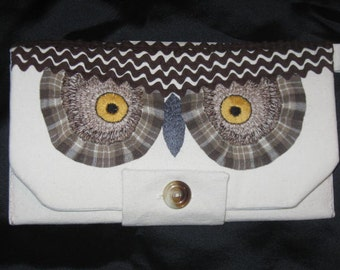 Woodland Owl Off White Brown Hand Embroidered Clutch Wristlet Purse