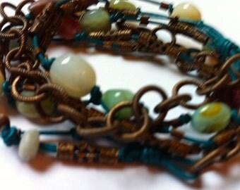 Bohemian Wrap Cuff, Peruvian Opal and Tourmaline Leather Wrap Bracelet, Bohemian Stone Bracelet