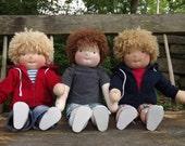 """CUSTOM BOY DOLLS Waldorf Doll Boy, Handmade Waldorf Doll, Cloth Doll, Rag Doll, 16"""" Doll, Cotton and Wool Doll, Doll for Boys"""