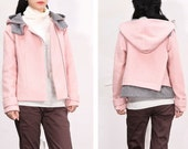 Pink woolen short coat