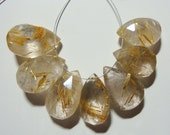 Golden Rutilated Quartz Micro Faceted Pear Briolette,7 pcs, J10-9
