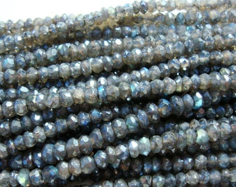 Pretty Dark Flashing Blue Green Gold LABRADORITE Mystic Micro Faceted Rondelle, SALE - 2xFull Strand - 3.6-4mm