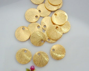 Handmade Vermeil Brushed Disc, Tag, Links, 6mm, 6 pcs, 24k Vermeil Brushed Textured Round Disc Links