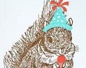 Happy Birthday Letterpress card - Squirrel