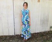 vintage 70s  Hawaiian dress -  maxi  floral print  Hukilau Fashion