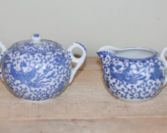 vintage cream and sugar phoenix pattern made in japan