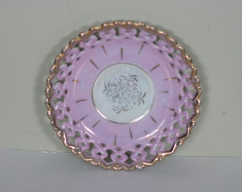 vintage stray saucer pink/lavender with a pierced edge