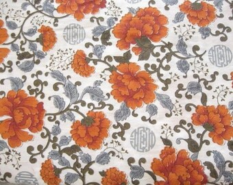 Orange and Grey Asian Floral Cotton Print Fabric Yardage Destash