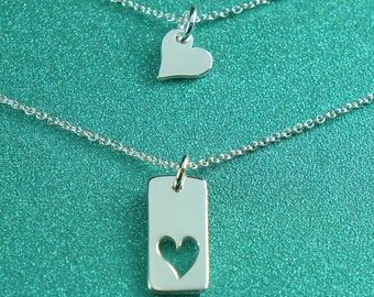 Mother Daughter Heart Necklace, Friendship Necklace, Sterling Silver Heart Charm, Gift Set,Free US Shipping