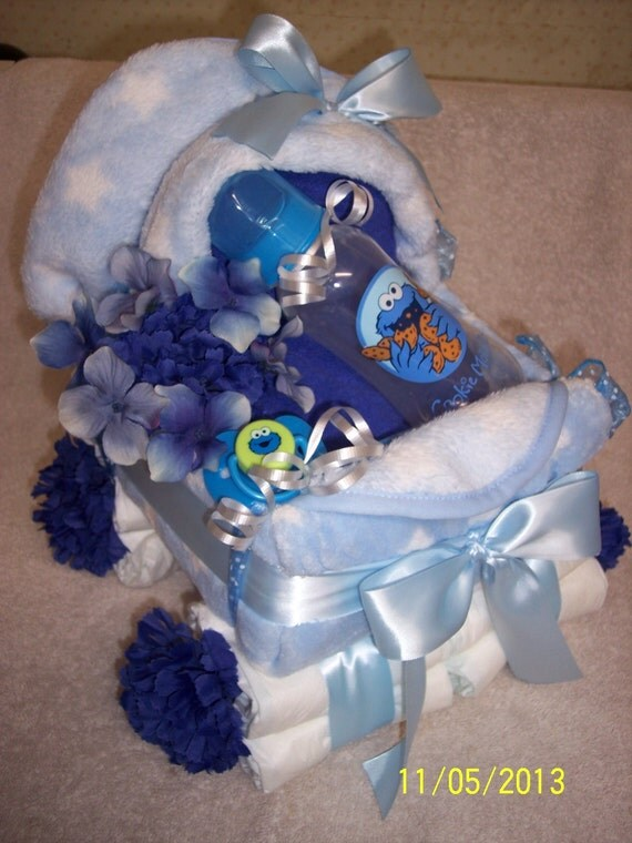 blue white with stars cookie monster perfect baby shower gift