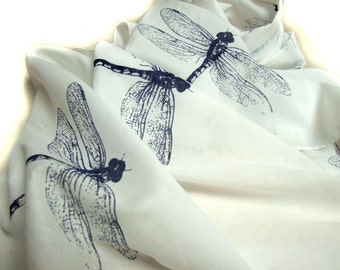 White Cotton Scarf  with Dragonflies in Navy Blue