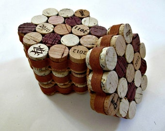 Cork Coasters with Caramel Ribbon - Set of 4 - Hostess, Wedding, Housewarming Gift - Holiday Entertaining - Wine Cork Home Decor