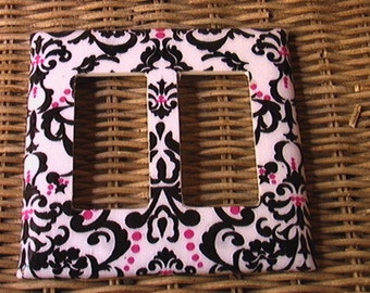 Damask Black White Red Double GFI Rocker Light Switch Plate Cover