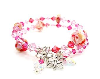 Wrap Bracelet, Lampwork Bracelet, Memory Wire Bracelet, Glass Bead Bracelet, Pink Peach Bracelet, Beadwork Bracelet, Butterfly Bracelet