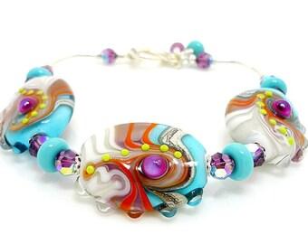 Colorful Bracelet, Abstract Bracelet, Lampwork Bracelet, Glass Bead Bracelet, Beaded Bracelet, Beadwork Bracelet, Glass Art Jewelry