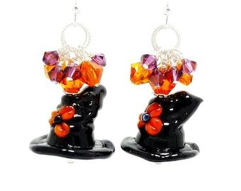 Black Witch Hat Earrings, Halloween Earrings, Lampwork Earrings, Glass Earrings, Witch Jewelry, Halloween Jewelry, Cluster Earrings