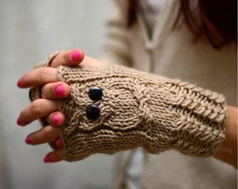 Owl, Beige Owl Gloves, Hand Knit Owl Gloves, Fingerless Owl Gloves, Arm Warmers, Beige Gloves,Light Brown, Fall Fashion
