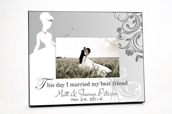 Personalized Bride Picture Frame for 4x6 Photo Wedding or Anniversary Gift UPBR-01