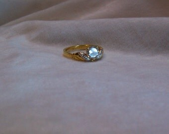 Ring, Size 8 Solitaire Rhinestone Ring, Lindenwold Ring