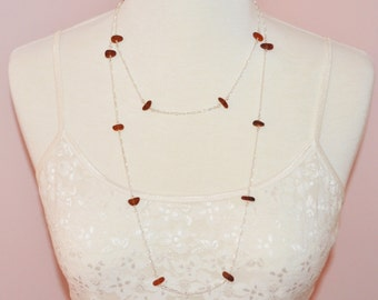 Sea Glass Jewelry Beach Necklace Forty Eight Inch Eternity in Amber Browns 8327C