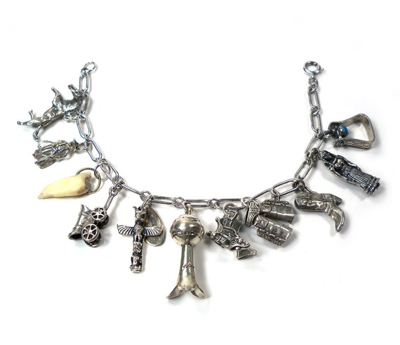 Vintage STERLING SILVER Charm Bracelet 1950s-1960s West, Native American Indian, Southwest Theme