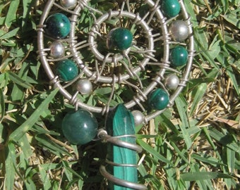 Sacred Spirals///Transformational Healing/// Malachite, Green Aventurine, and Sterling Silver Wire Wrap Pendent, One of a Kind, Art Handmade