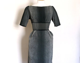 Size UK 14 (US 12) - Charcoal Tones Crepe Wiggle Dress - Made by Dig For Victory