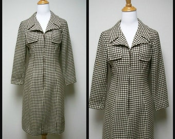 Vintage 60s/70s RICCO California Brown IvoryWool Hounstooth Check Fitted Dress Size S