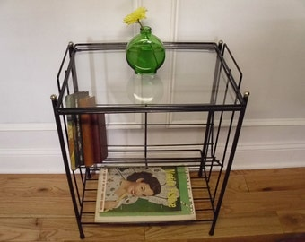 Vintage 1950's/1960's  Three Tiered Glass Top Black Metal Table