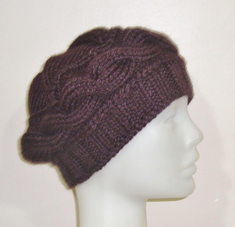 knit hat brown womens hat brown beret hat knit beret