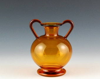 Yellow Double Handled Vase, Hand Blown Glass