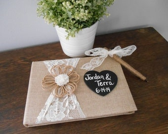 Rustic Wedding Guest Book Burlap Guest Book and Pen SET with Personalized Chalkboard or Wood Burned Heart Tag