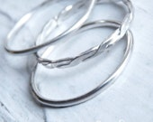 Handmade Stacking Ring Set, Rope, Simple, Sterling Silver, Size 6.5