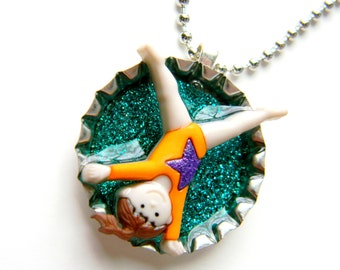 BUBBLE SALE Bottle Cap Necklace - Gymnastics Cartwheet Gymnast 3-D Glitter